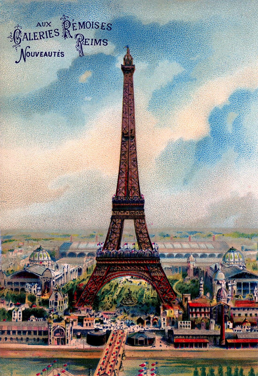 Vintage Graphic Gorgeous Colorful Eiffel Tower The