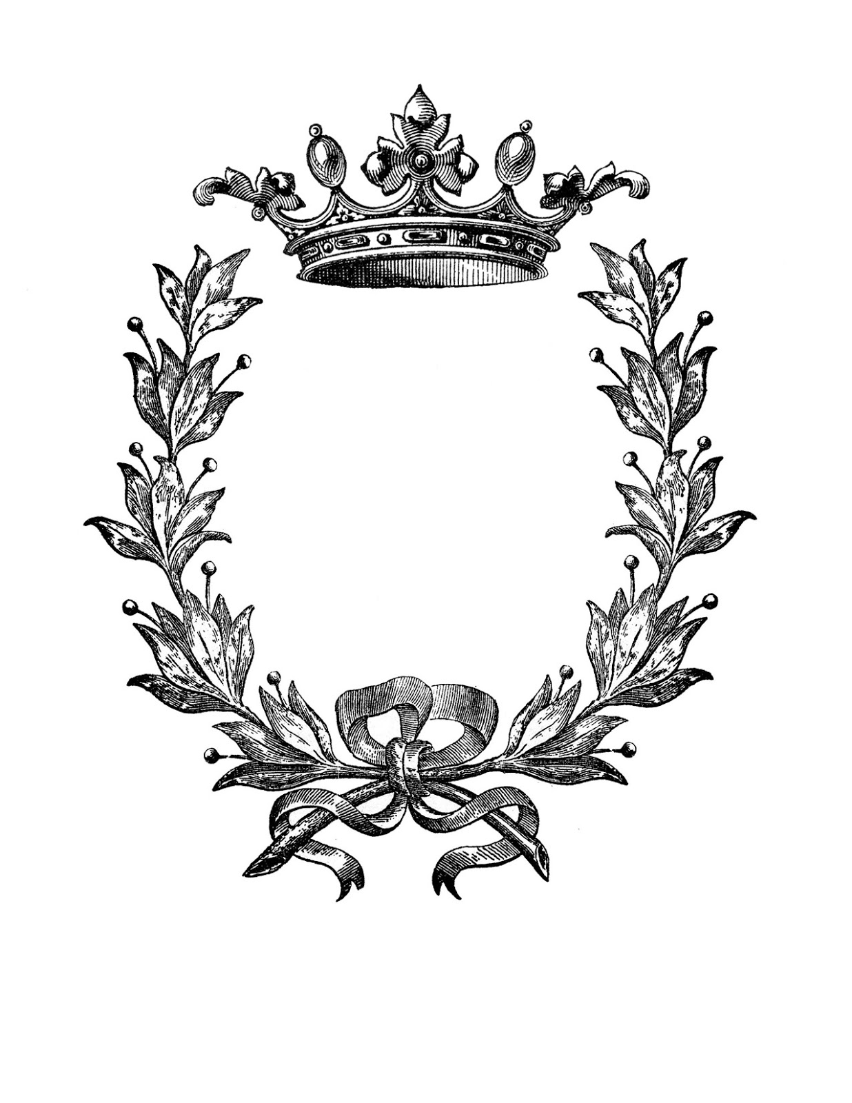 picture regarding Printable Wreath called Iron upon Go - Wreath with Crown! - The Graphics Fairy