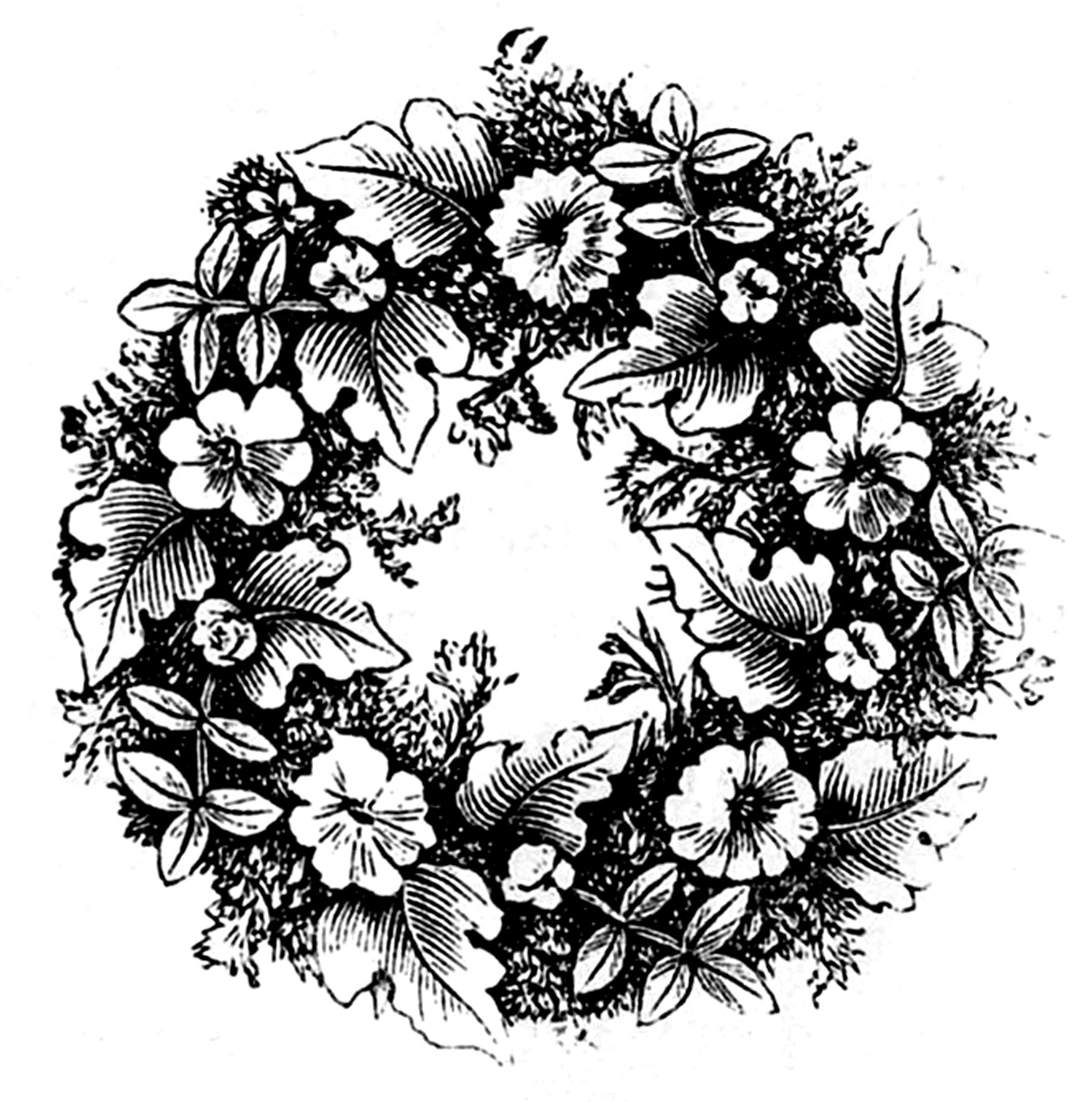 Black and white floral wreath stock vector image 65241515 - Black And White Floral Wreath Stock Vector Image 65241515 1300x1390 Vintage