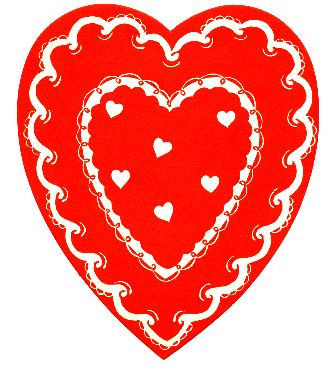 vintage valentines clip art classic red and white heart