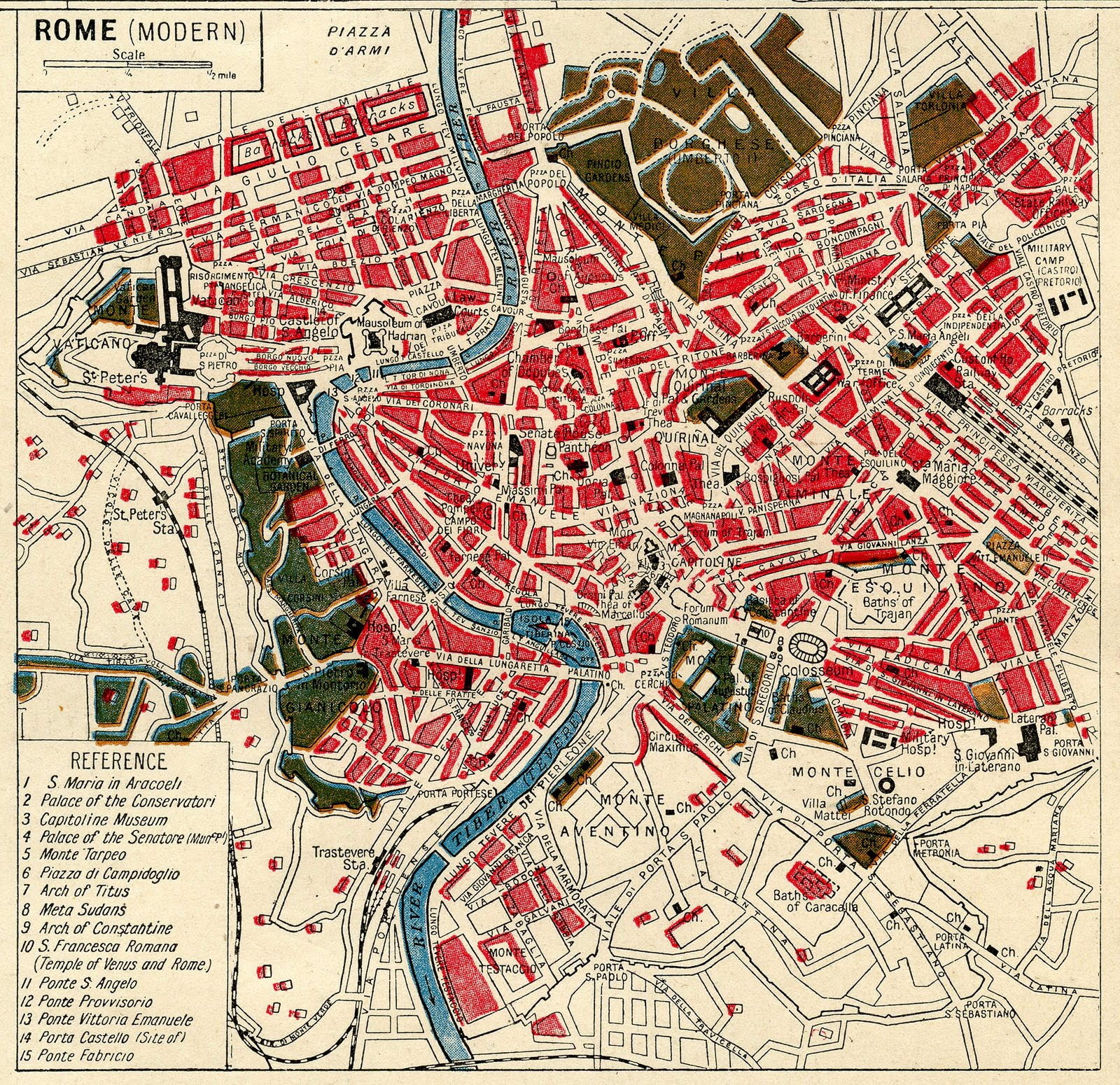 Instant Art Printable Download - Map of Rome - The Graphics Fairy