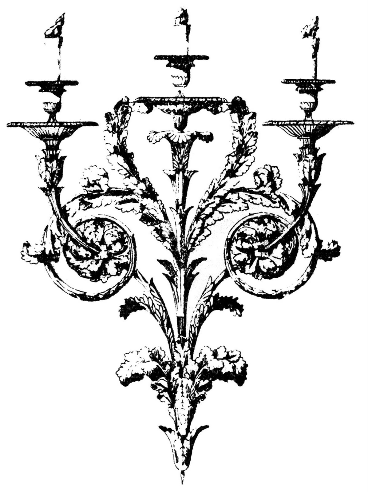 Vintage Clip Art - Gothic Baroque Candle Holders - The Graphics Fairy