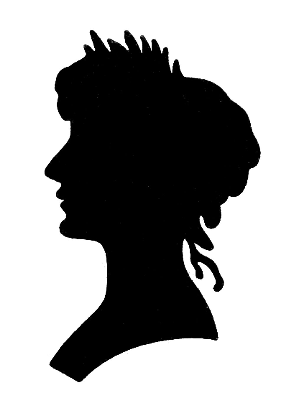 Vintage Graphic Images -Silhouette lady with Floral Frame ...