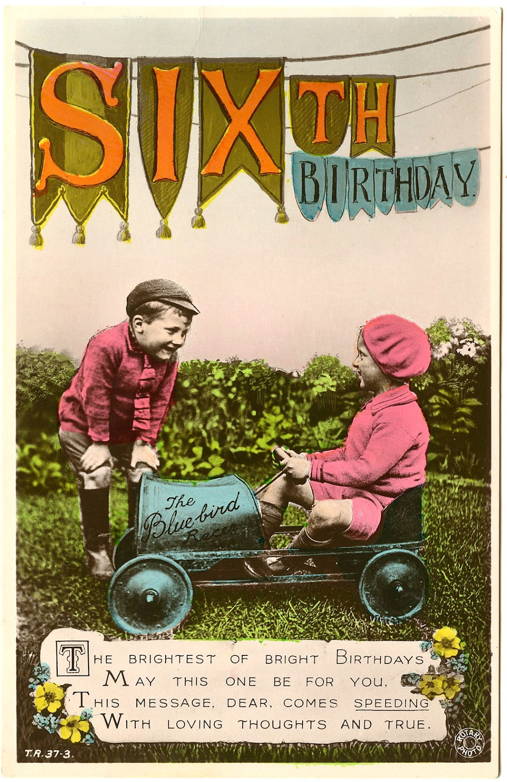 old photo kids with pedal car birthday