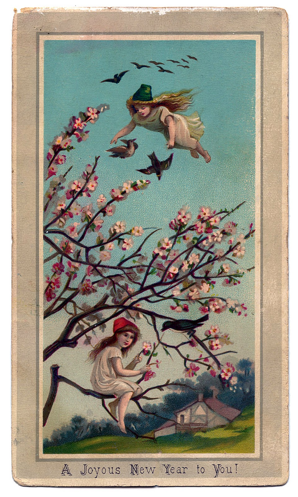 victorian new year graphic fairy girls with cherry blossoms