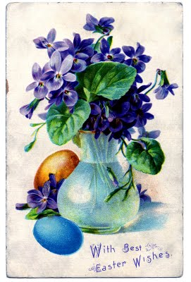 Vintage Easter Clip Art - Violets, Girl with Eggs - The ... Easter Clip Art Free Retro