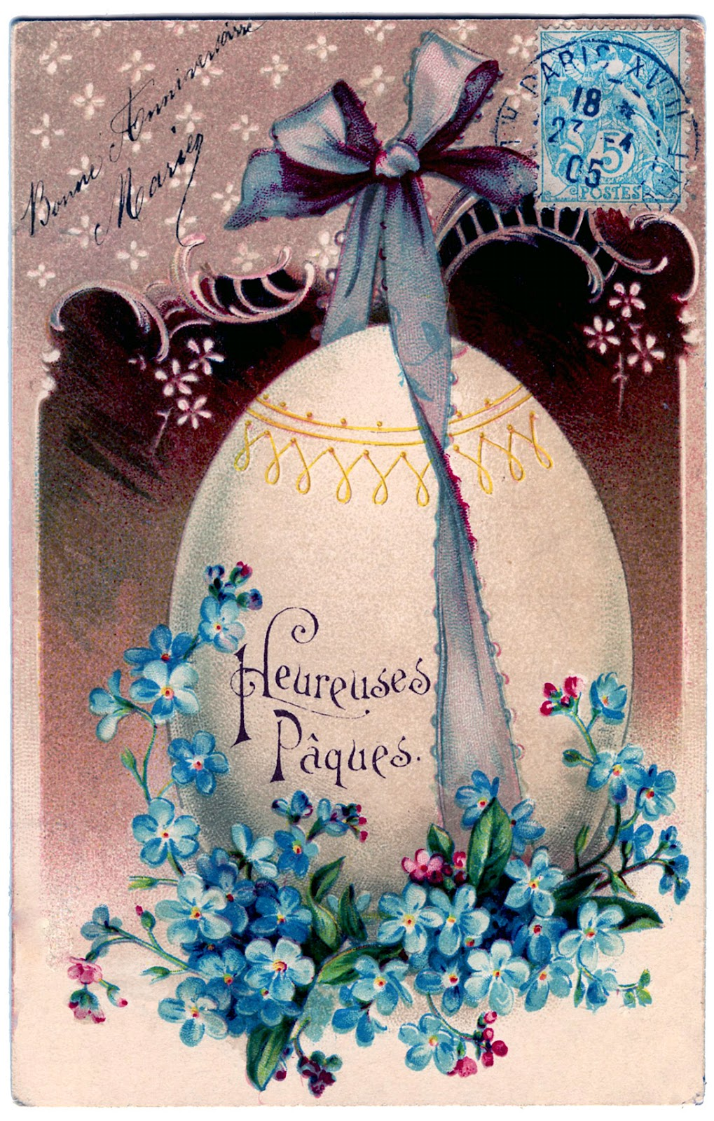 Easter Freebie French Egg With Flowers The Graphics Fairy