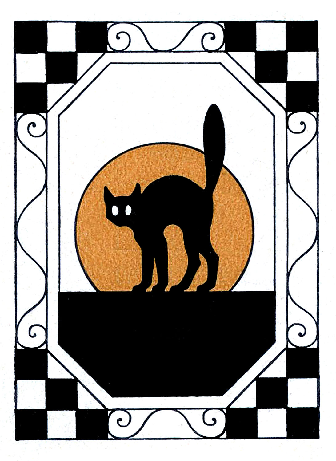 Vintage Halloween Clip Art Black Cat With Moon The