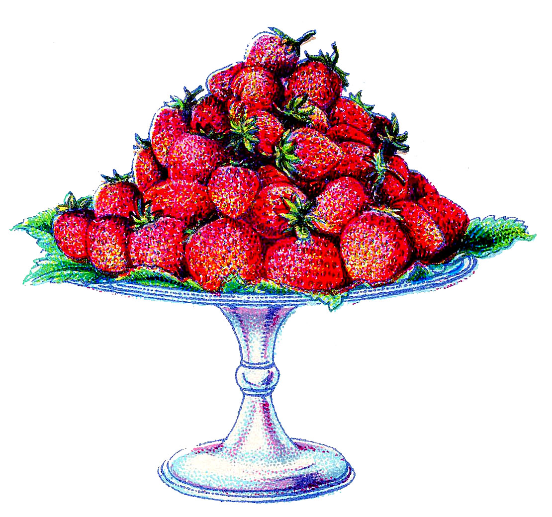 Extrêmement Vintage Clip Art - Strawberries on a Cake Plate - The Graphics Fairy BO23