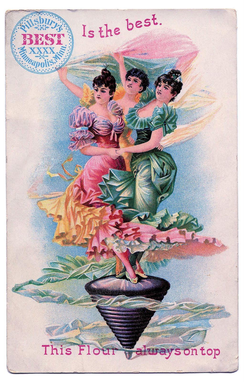 Vintage Graphic Dancing Ladies Advertising The