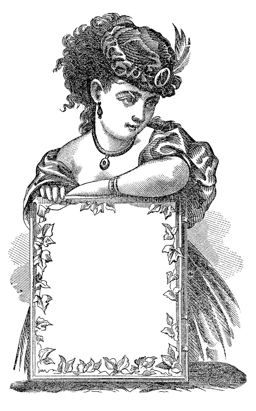 Antique Clip Art Victorian Lady With Sign Label The