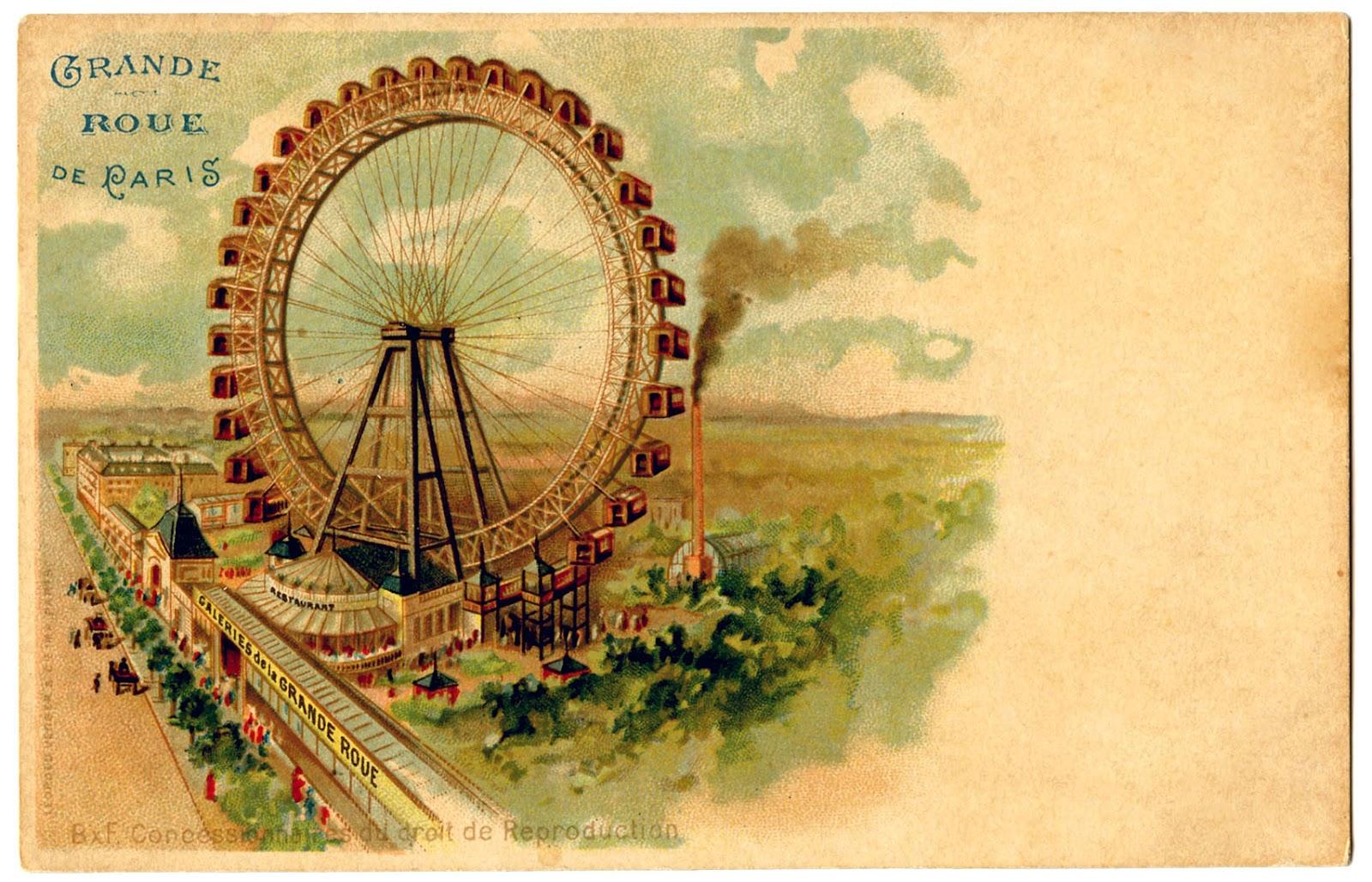 Vintage Graphic - Paris Ferris Wheel - The Graphics Fairy