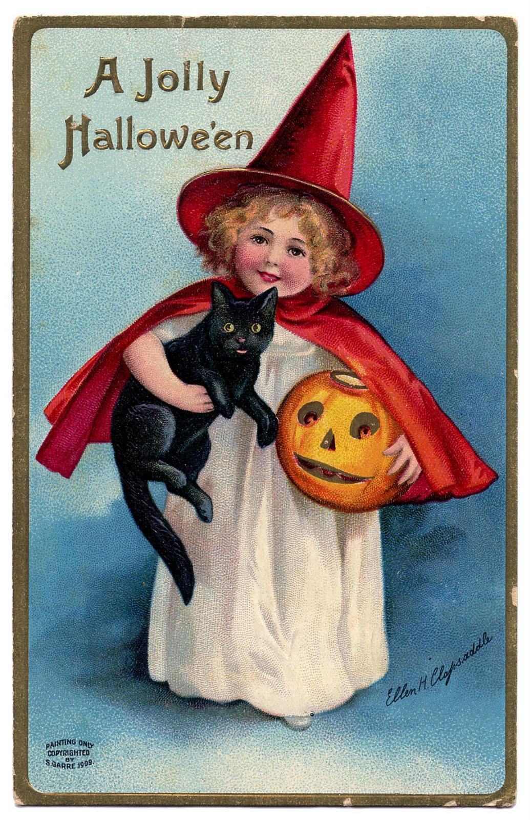Vintage Halloween Clip Art - Darling Little Witch Girl ...