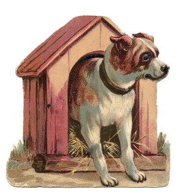 Vintage Clip Art - Dog in Dog House Doghouse