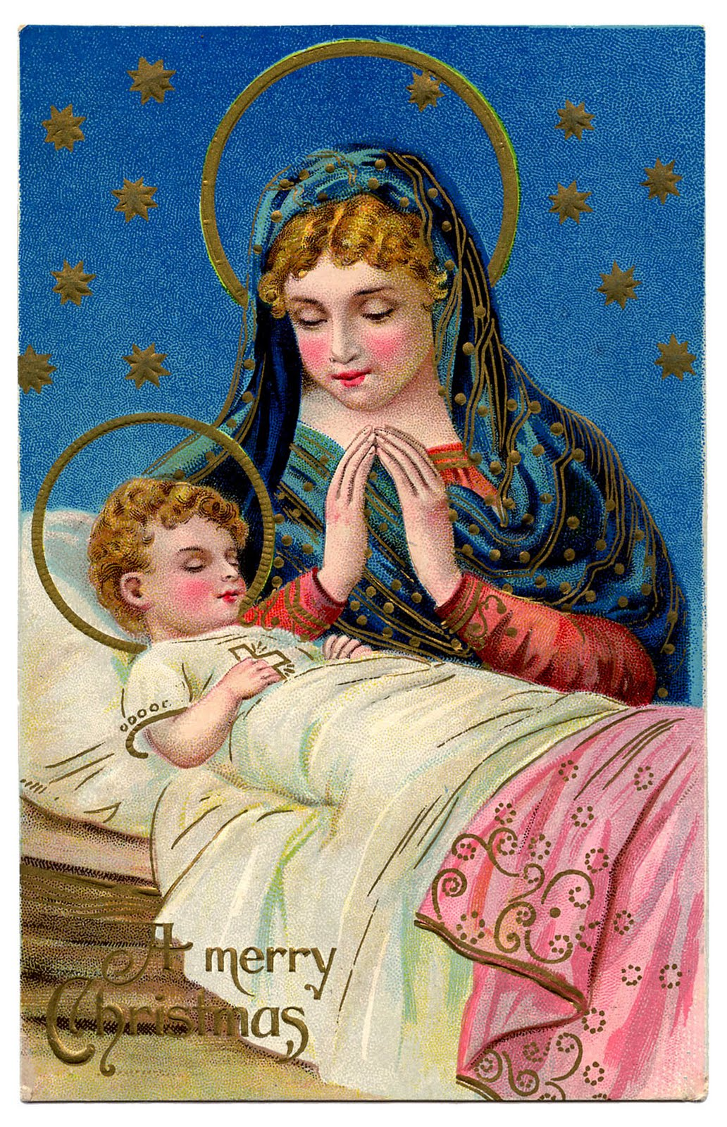 antique christmas graphic gorgeous baby jesus with mary the