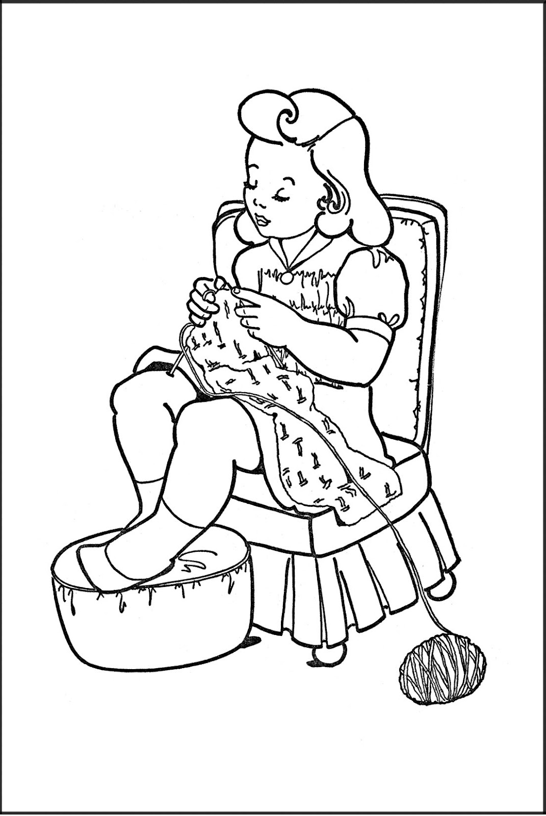 Kids Printable Coloring Page Girl Knitting The Printable Vintage Coloring Pages