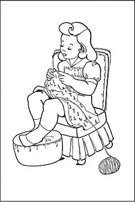 old fashioned halloween coloring pages | Kids Printable - Coloring Page - Girl Knitting - The ...