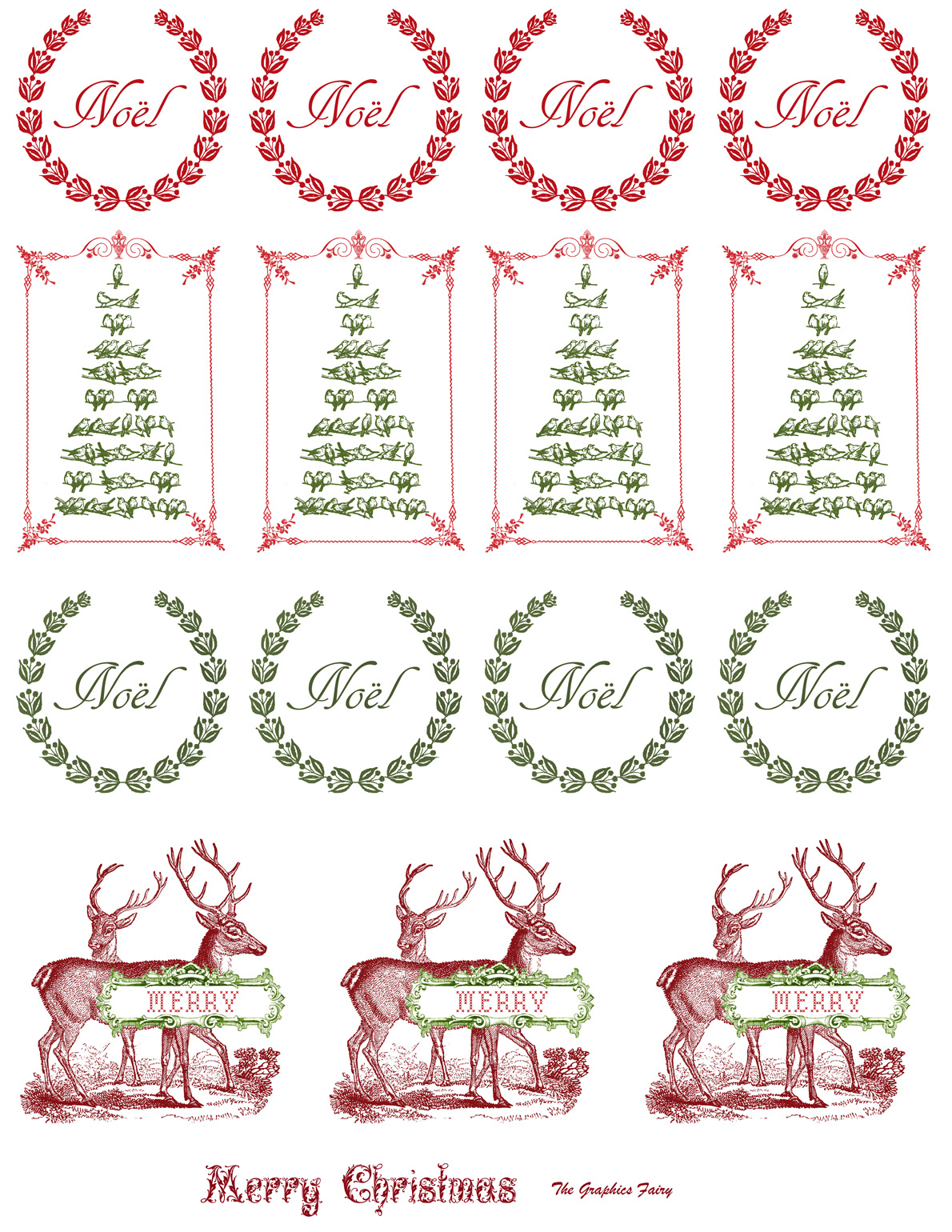 Printable Vintage Christmas Stickers
