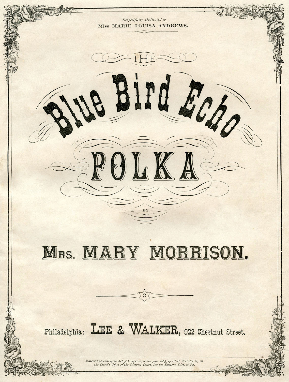 Vintage Ephemera Graphic Sheet Music Cover Blue Bird