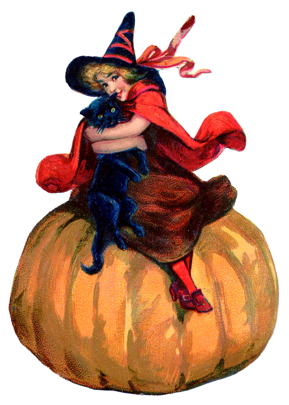vintage halloween image adorable witch with pumpkin