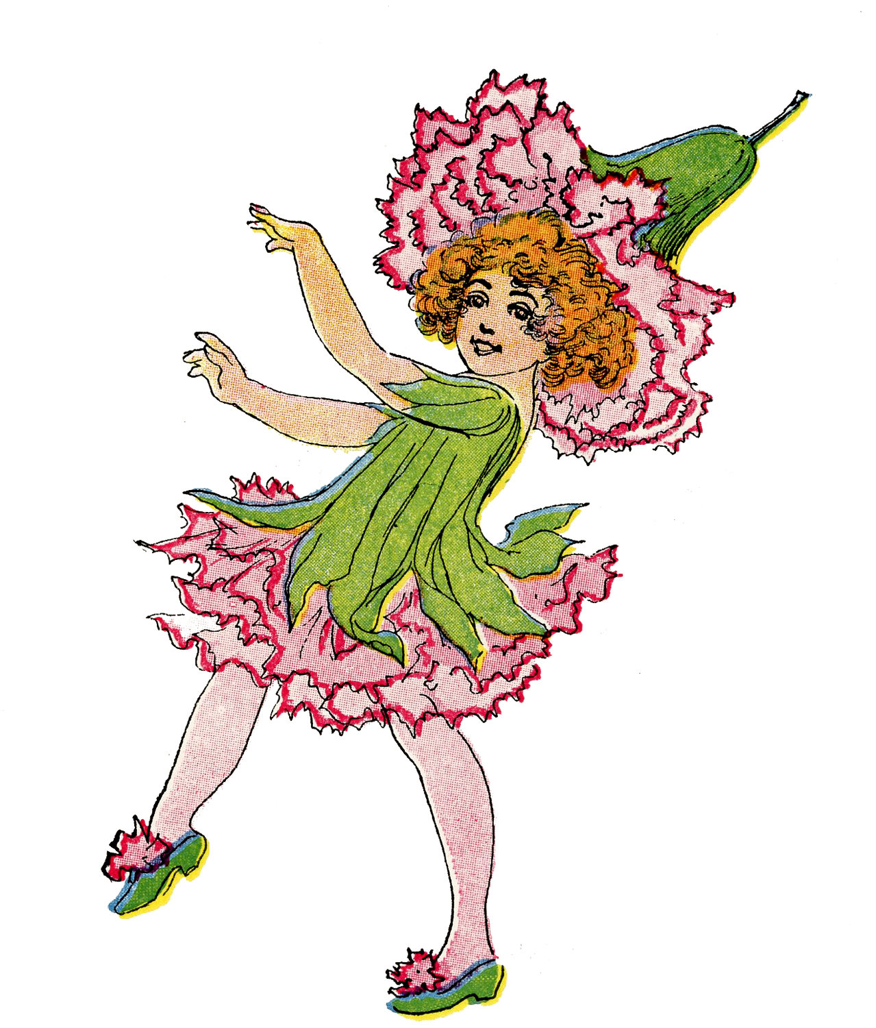 Vintage Flower Fairy Image Pink Carnation Girl The Graphics Fairy
