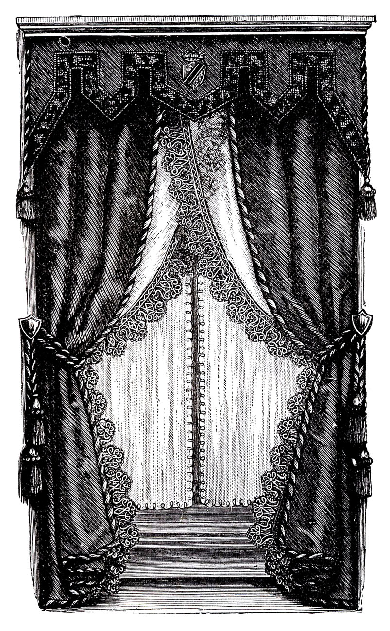Vintage clip art fancy victorian curtains draperies for Fancy window design