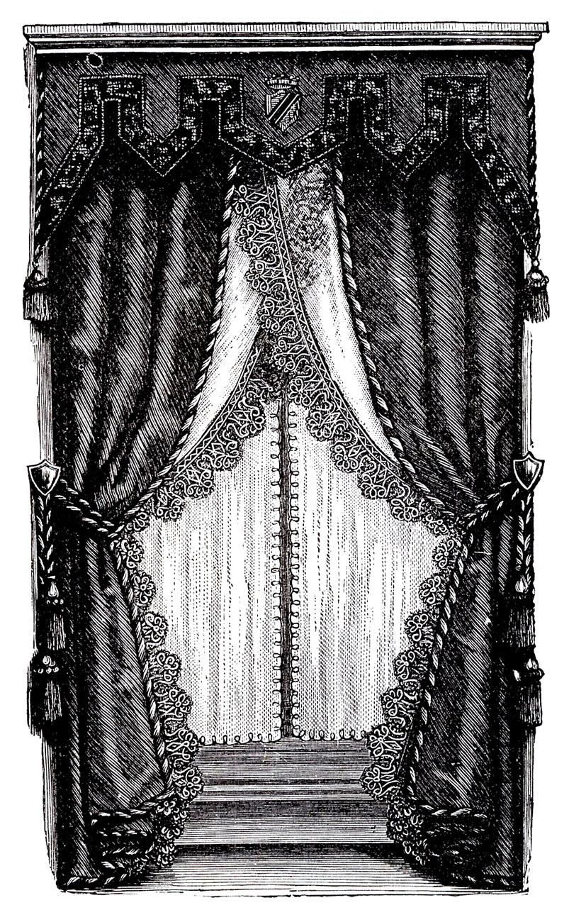Vintage Clip Art Fancy Victorian Curtains Draperies