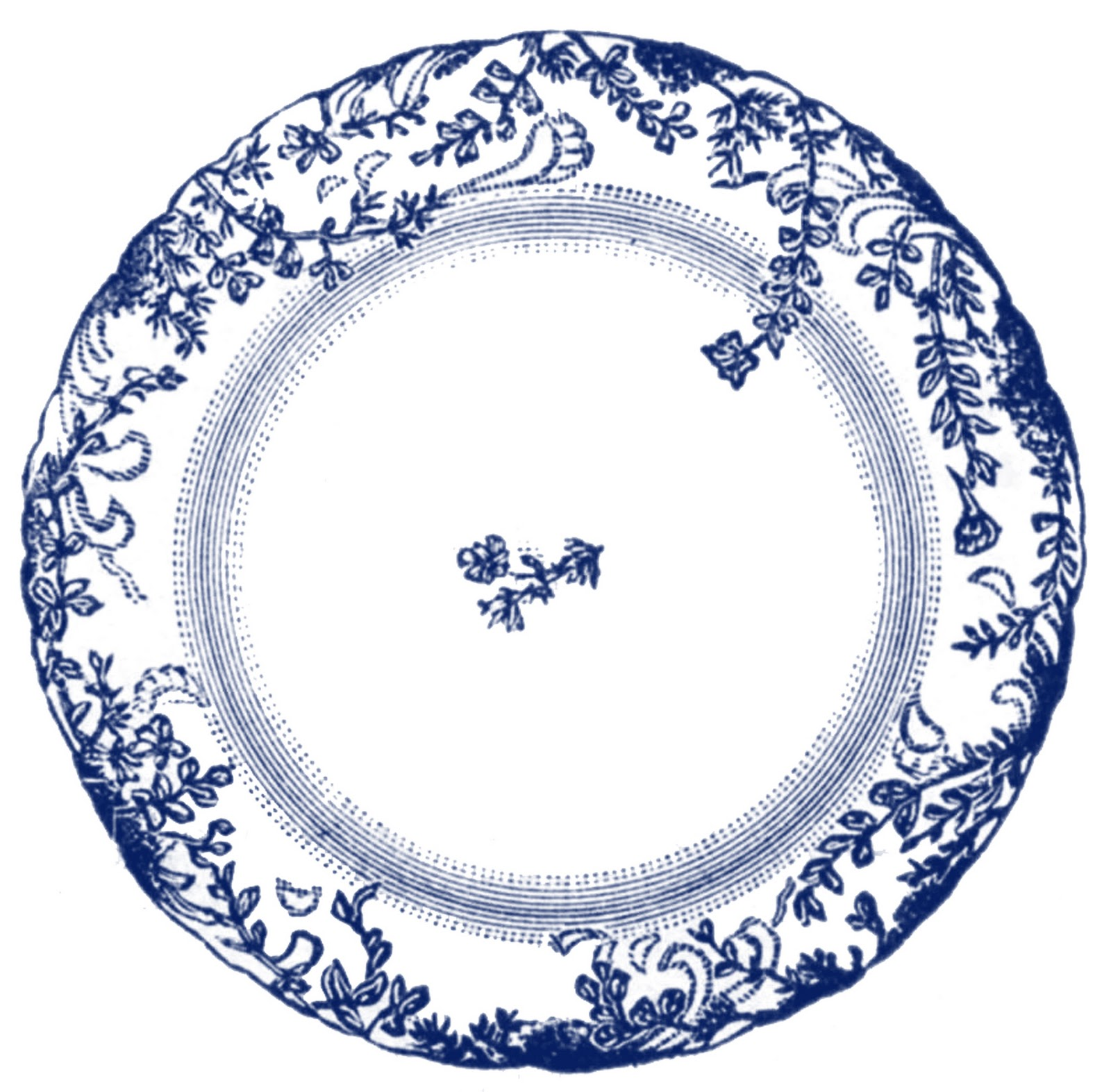 Vintage Clip Art Antique China Plate 4 Options The
