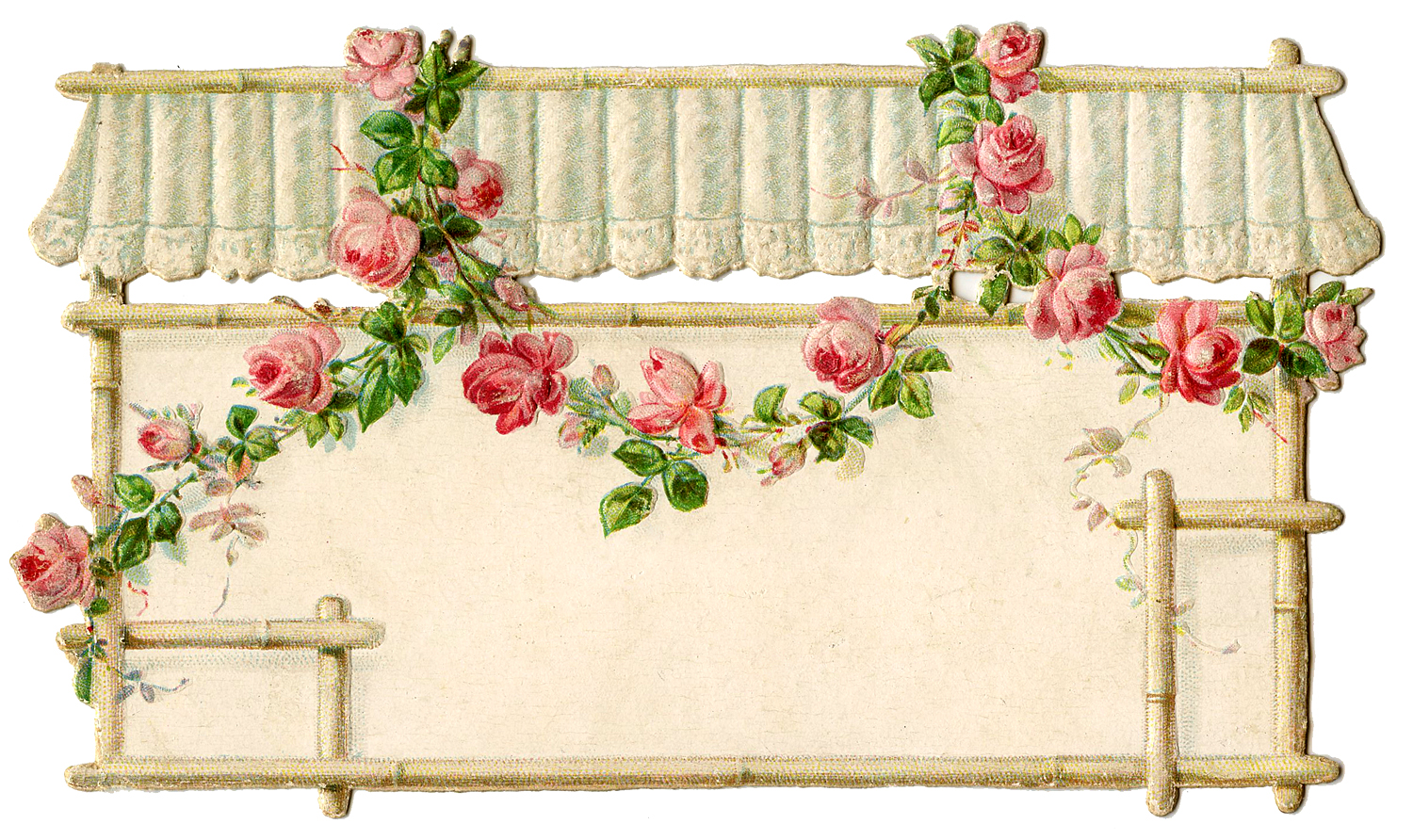 Cottage Style Graphic Awning With Rose Garland The