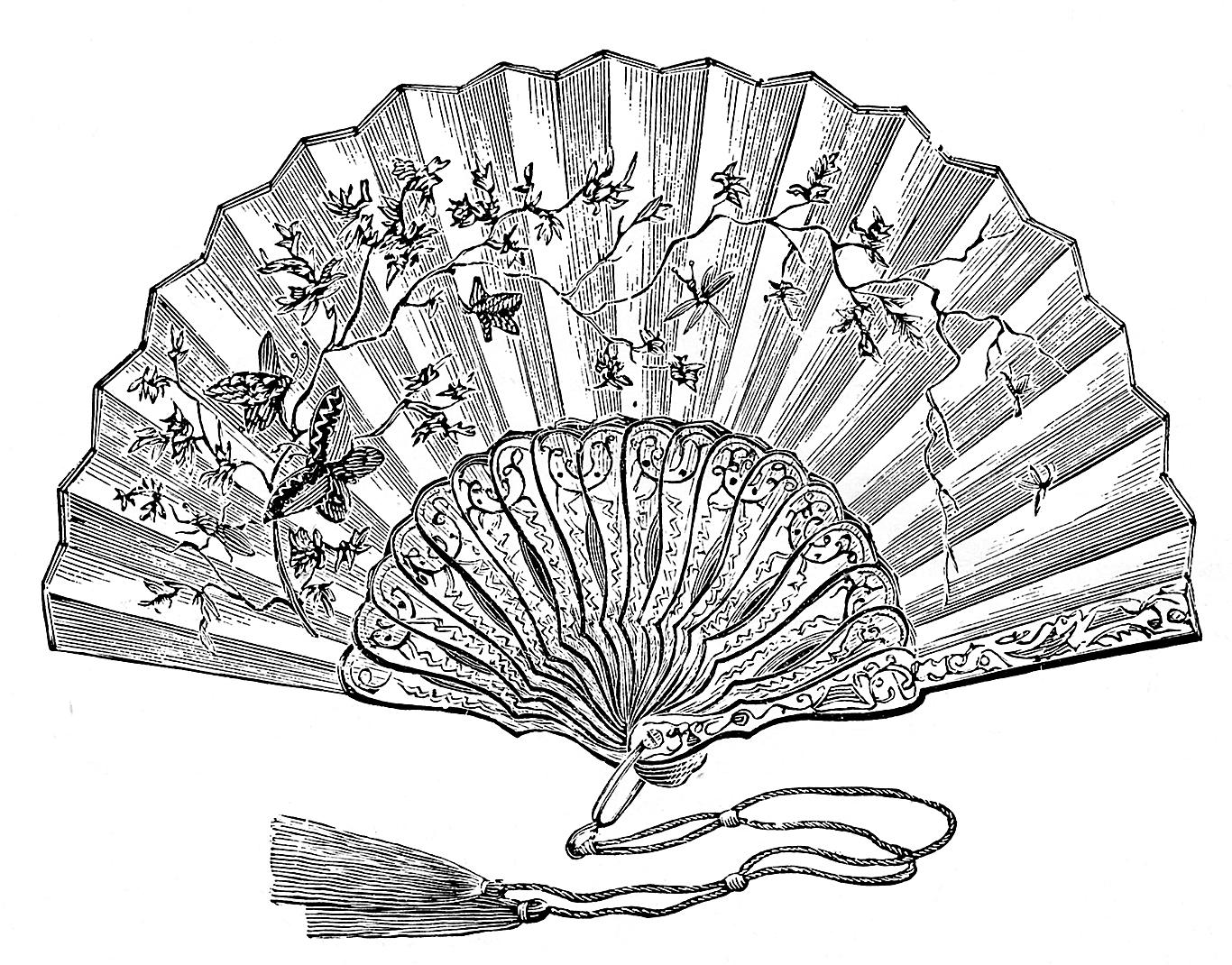 Vintage Clip Art - Ladies Fans - The Graphics Fairy