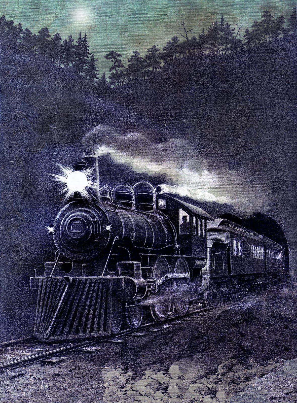 Vintage Graphic - Magical Midnight Train - Printable