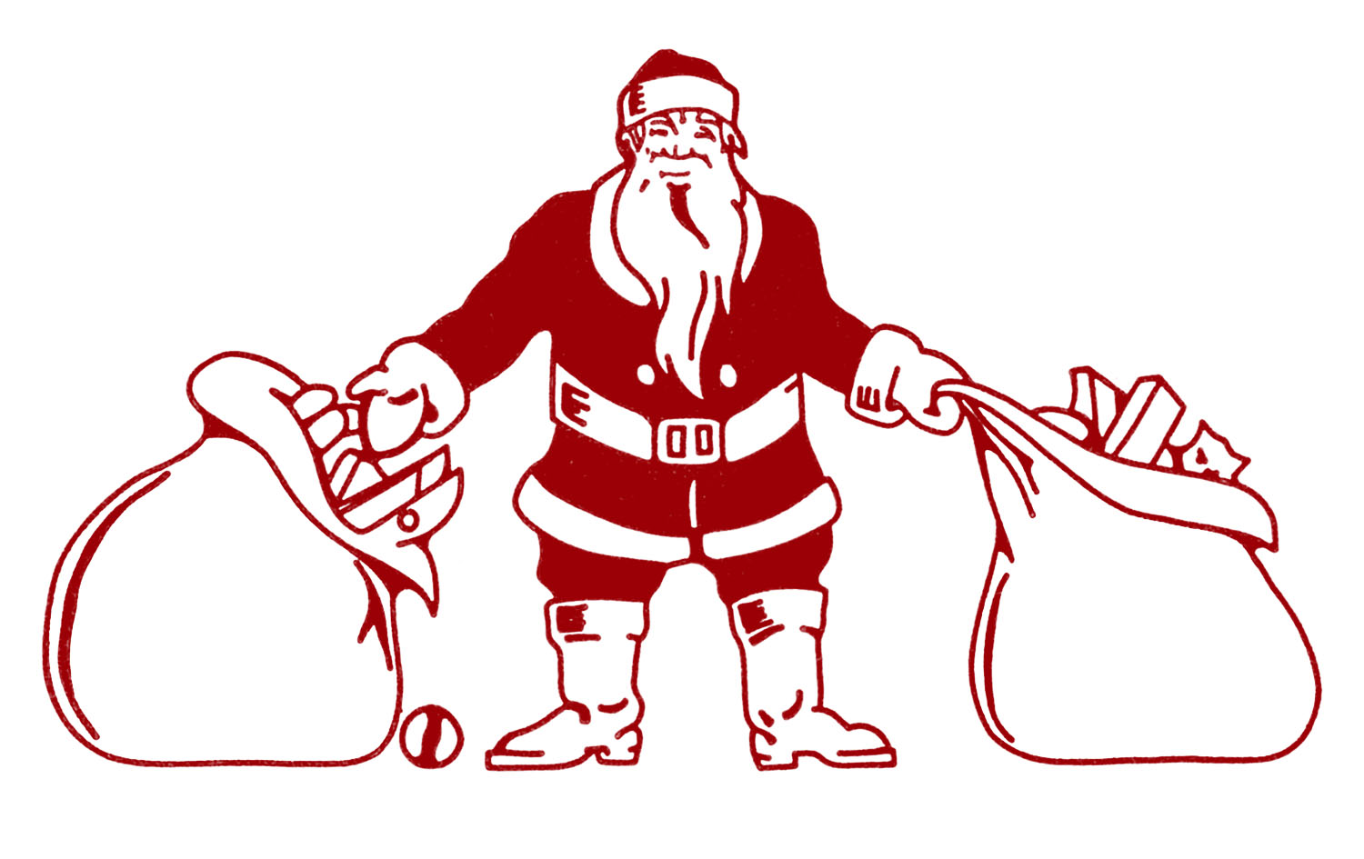 Vintage Christmas Clip Art - Santa with Bags of Toys - The ...