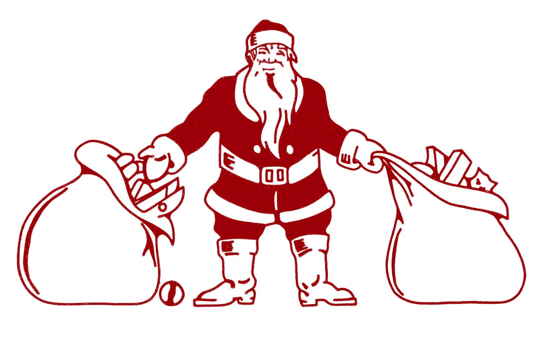 Christmas Toys Art : Vintage christmas clip art santa with bags of toys the