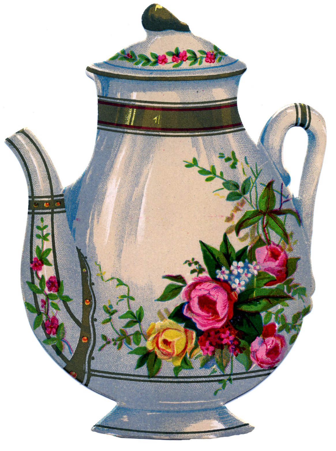 Victorian graphic floral ironstone teapot the graphics fairy