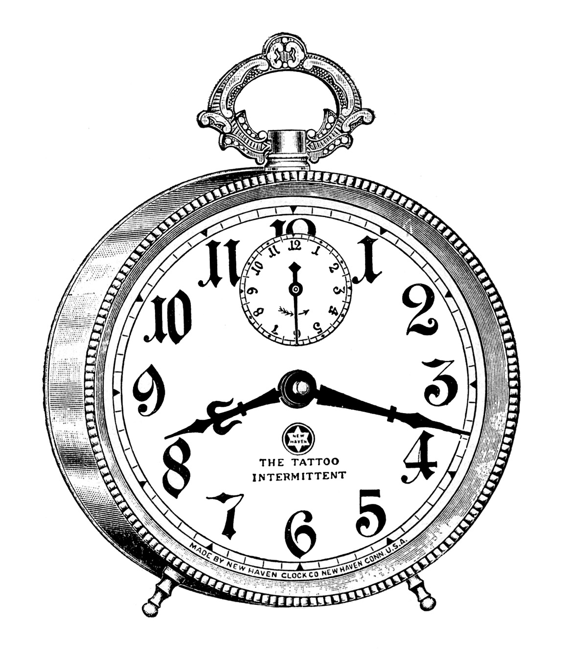 Line Drawing Clock : Vintage clip art fancy alarm clock steampunk the