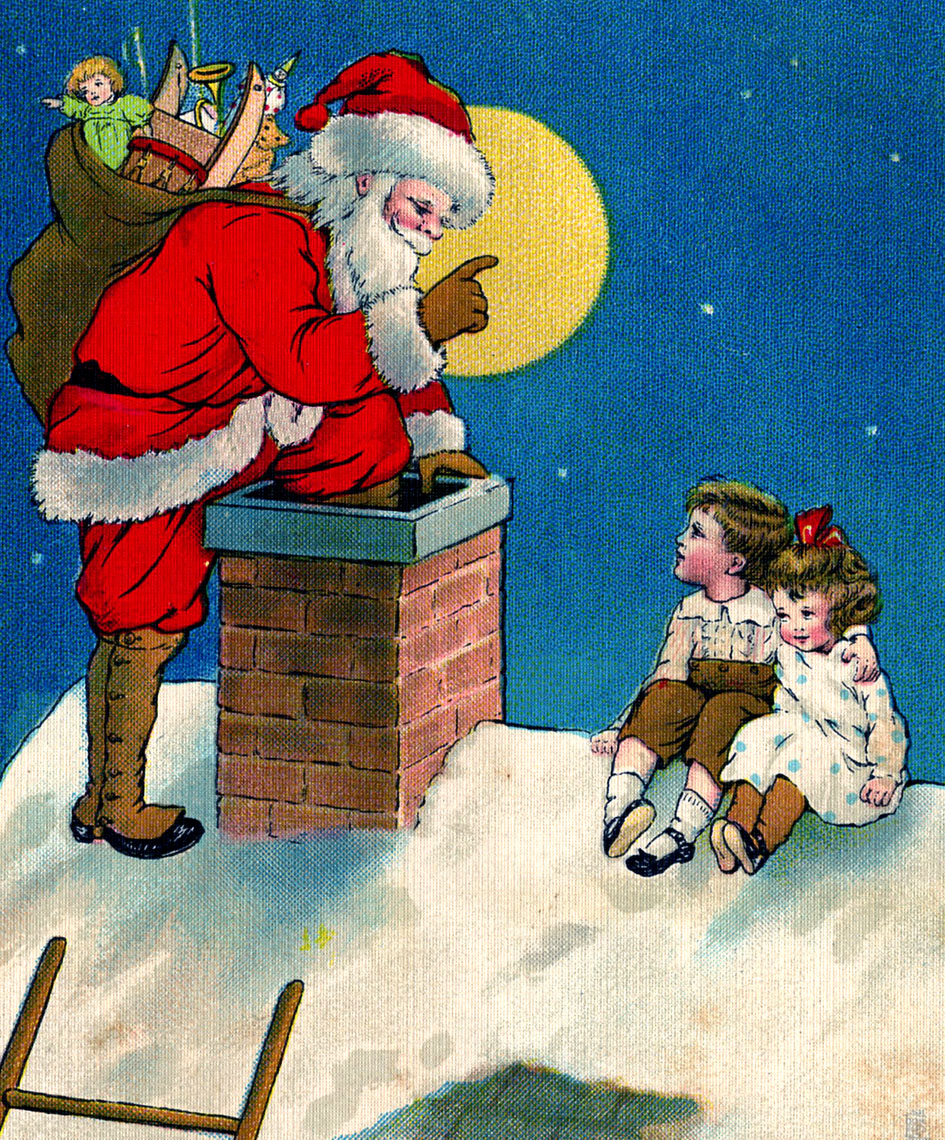 Vintage Christmas Clip Art - Santa with Children - The Graphics Fairy