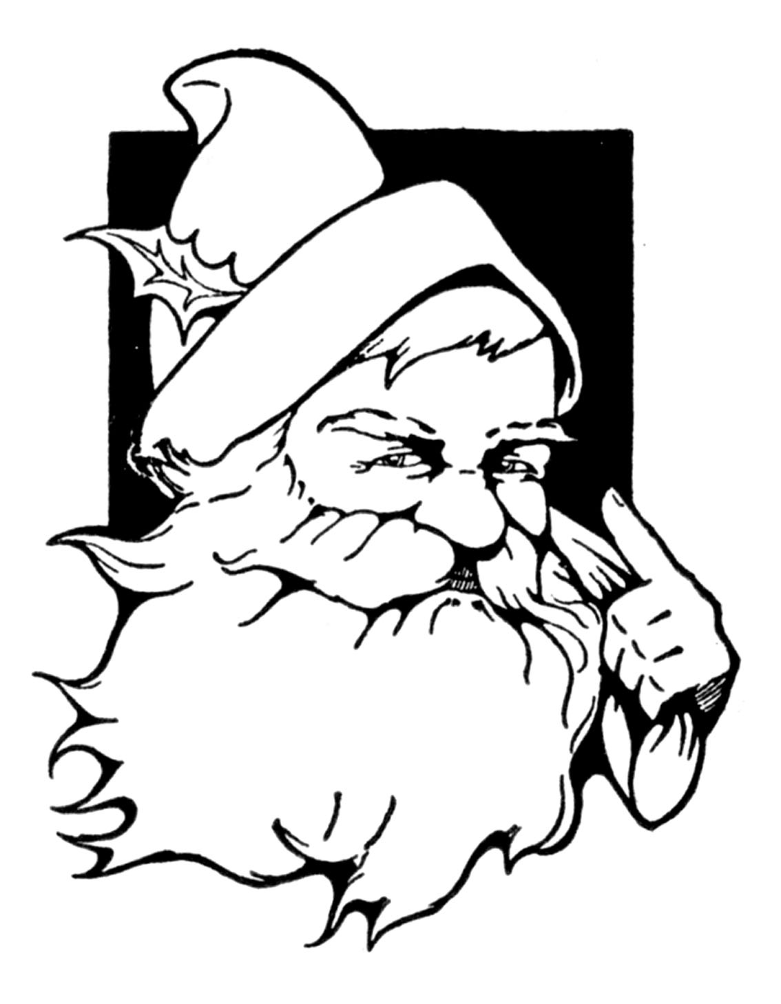 Gallery For gt Cute Santa Clip Art Black And White