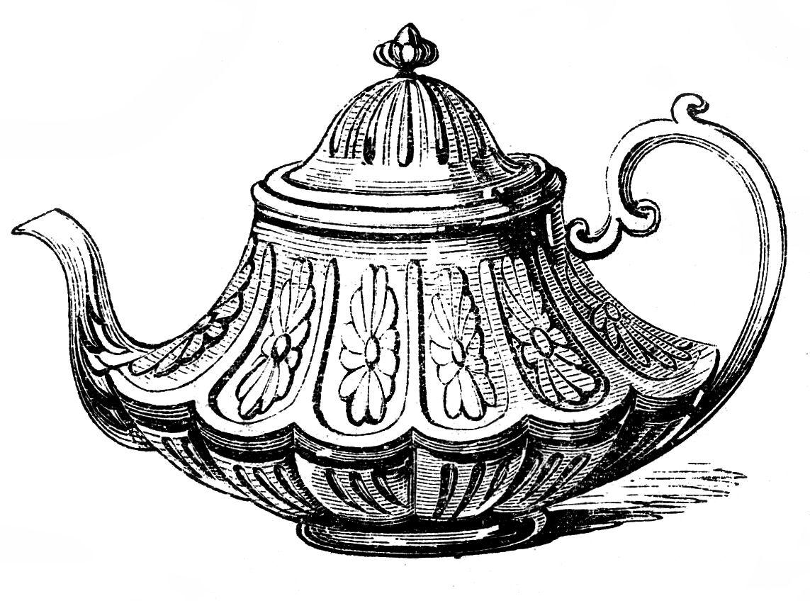 Free Vintage Clip Art     2 Ornate TeapotsTeapot Drawing Tumblr
