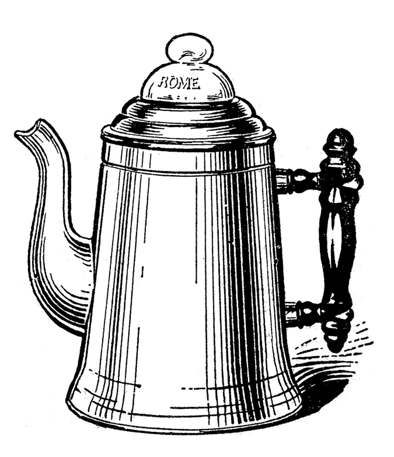 Vintage kitchen clip art tea kettle and coffee pots for Old black and white photos for sale