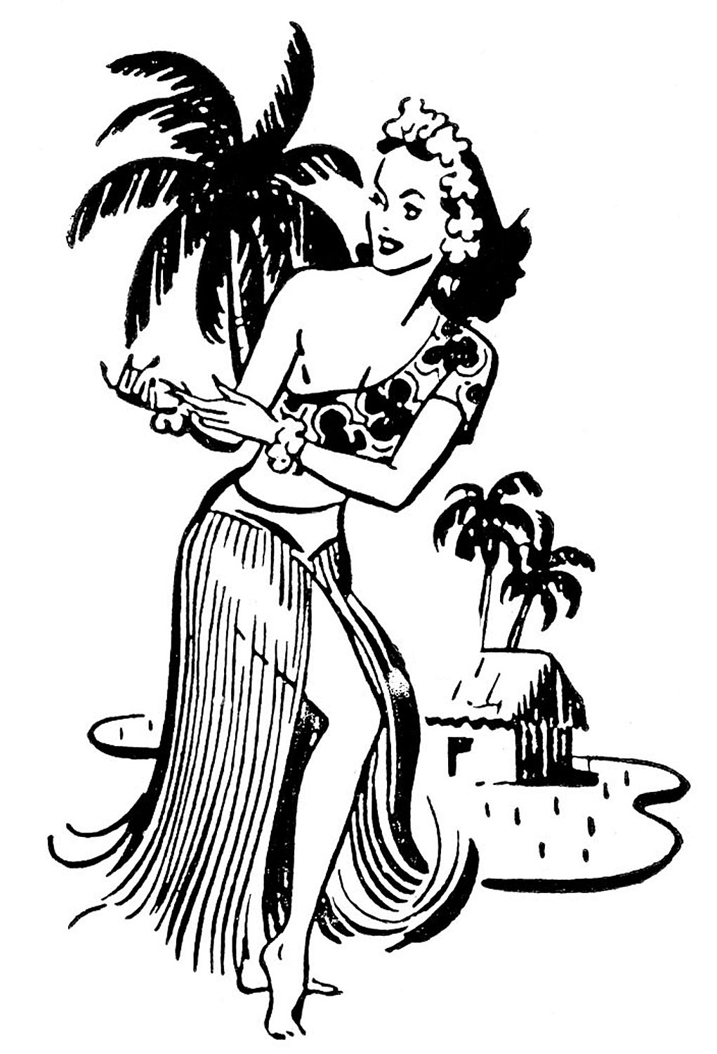 Retro Clip Art - Hawaiian Ladies - Dancers - The Graphics Fairy