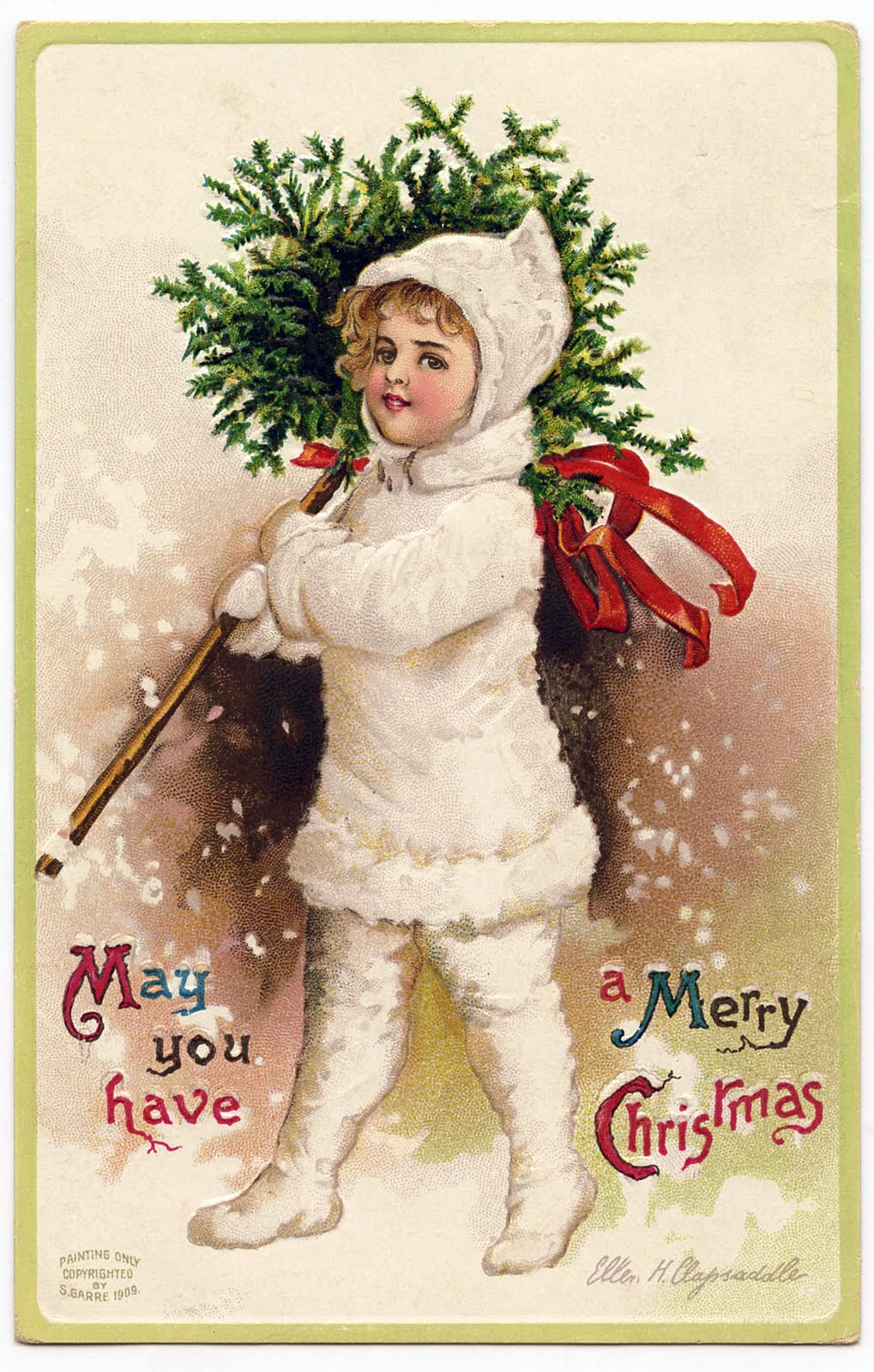 Vintage Christmas Graphic Snow Girl With Topiary The