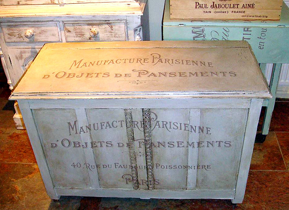 Painted Furniture With French Typography