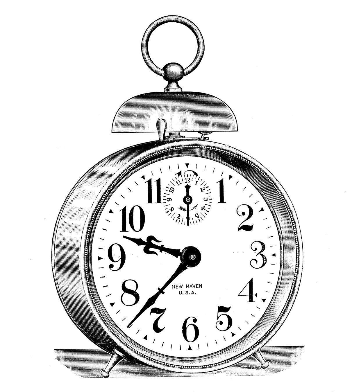 Vintage Clip Art - Classic Alarm Clock - Steampunk - The ...