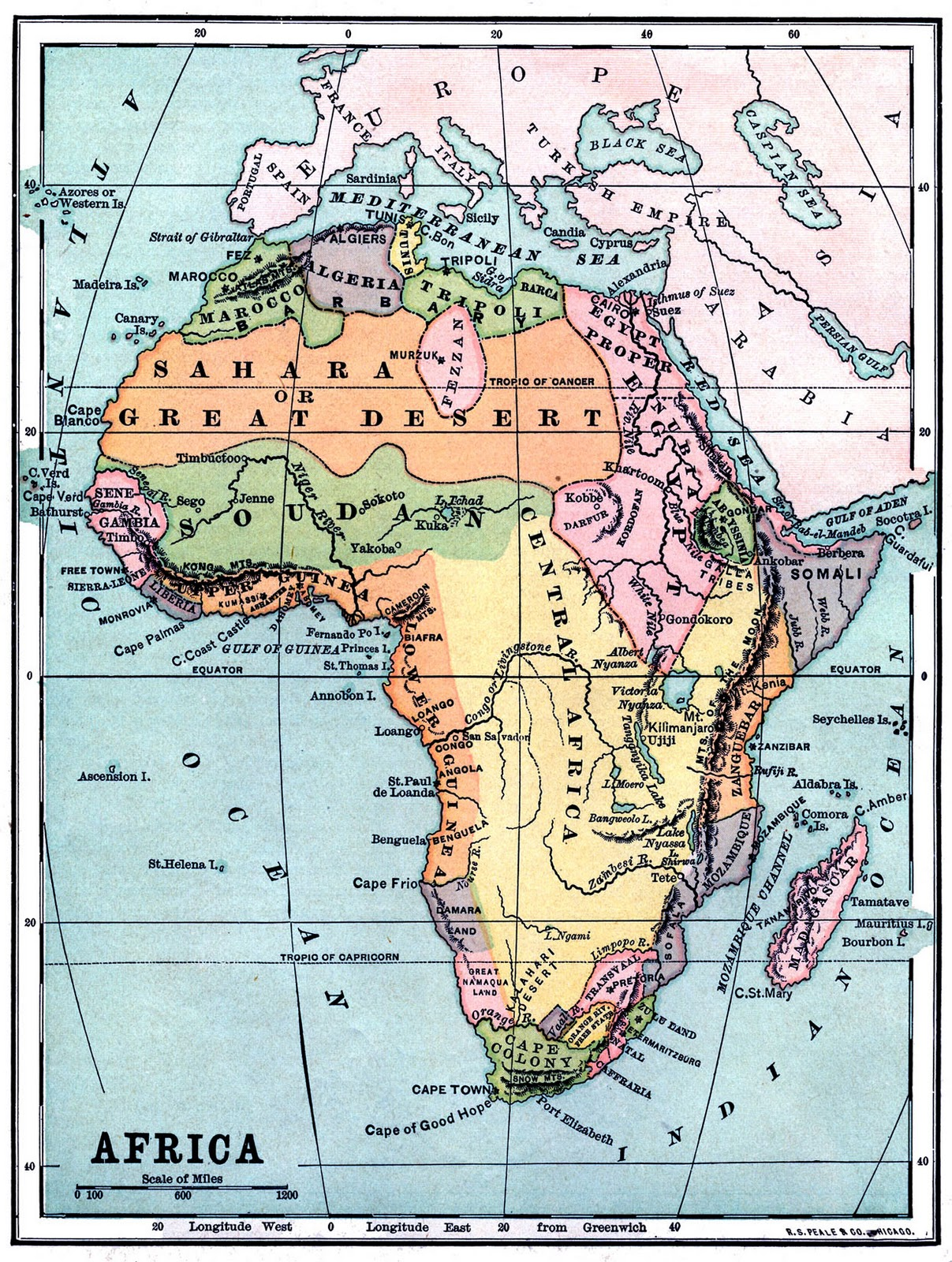 africa map vintage
