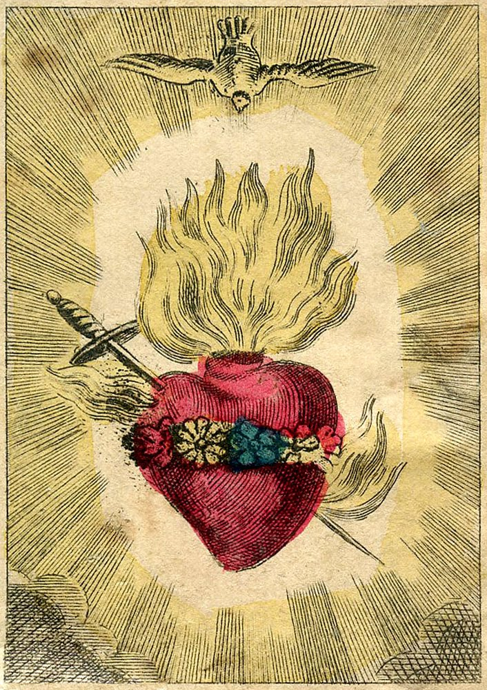 antique graphic amazing french holy card sacred heart the