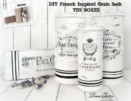 French Grain Sack Tins Waterslide Decals