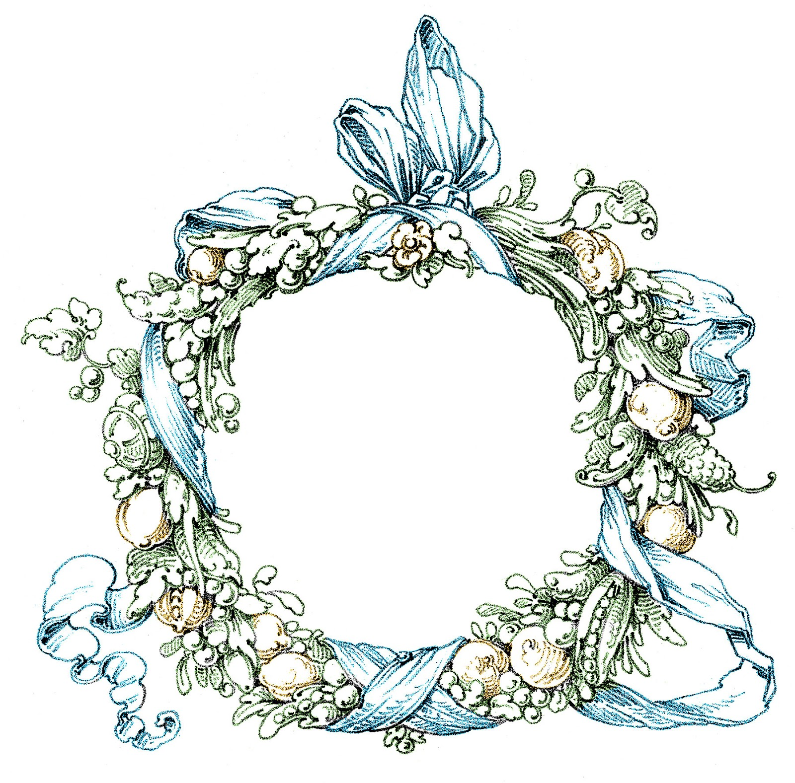 Vintage Clip Art - Fab Ornate Wreath - Frame - The ...