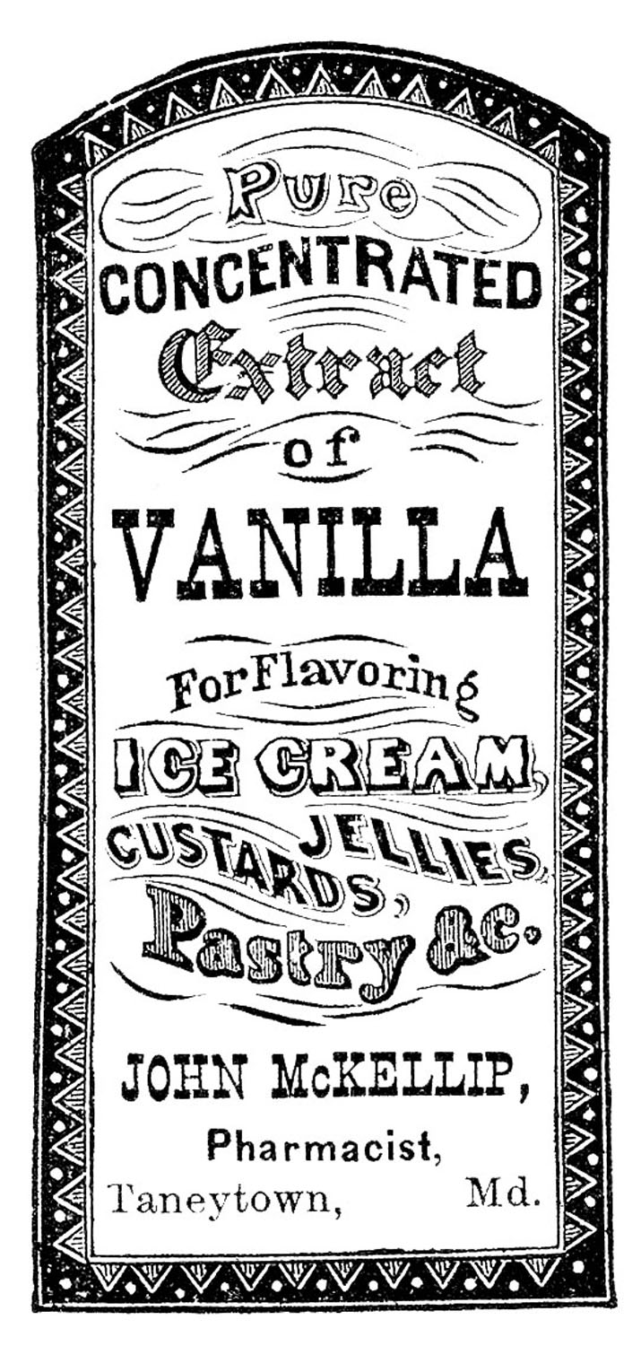 Vintage clip art apothecary label vanilla extract for Scritte vintage