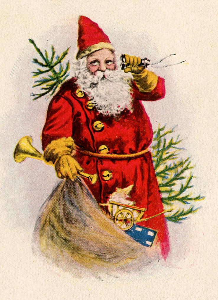 Christmas Toys Cards : Vintage christmas clip art santa with toys the