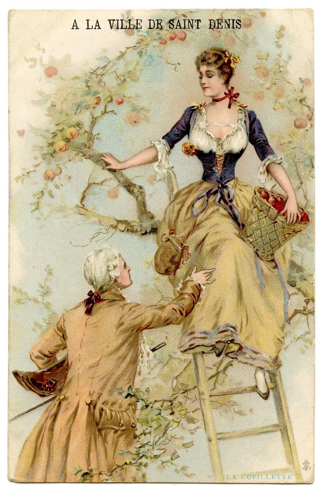 Vintage Graphic - Romantic French Couple Picking Apples -4570